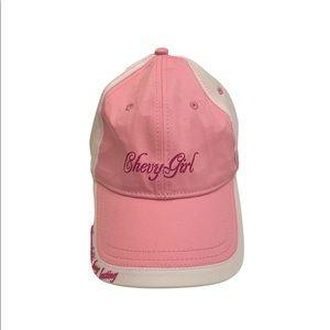 Chevy Girl women's baseball cap hat pink white adjustable back strap trucker hat